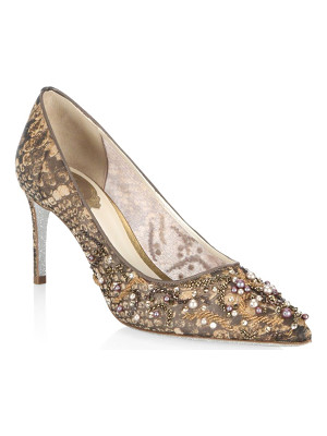 RENE CAOVILLA Lace And Pearl Pumps