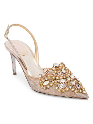 RENE CAOVILLA Lace Embroidered Slingback Pumps
