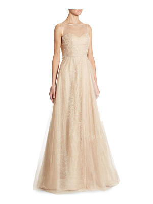 RENE RUIZ Illusion Beaded Tulle Gown