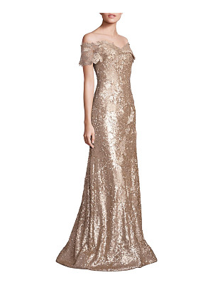 RENE RUIZ Off-Shoulder Sequin Lace Applique Gown