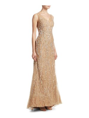 Rene Ruiz v-neck sequin gown