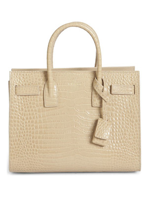 SAINT LAURENT Baby Sac De Jour Croc-Embossed Leather Tote
