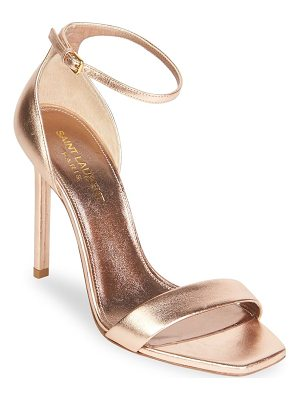 SAINT LAURENT Metallic Leather Ankle-Strap Pumps