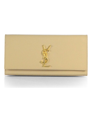 SAINT LAURENT Monogram Textured Leather Clutch