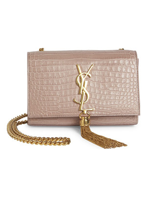 SAINT LAURENT Small Kate Monogram Tassel Croc-Embossed Leather Chain Shoulder Bag