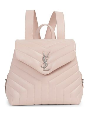 SAINT LAURENT Small Lou Lou Silvertone Leather Backpack