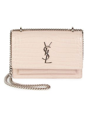 Saint Laurent sunset silvertone stamped-croc wallet on chain