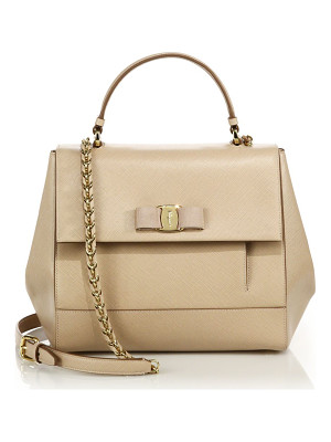 SALVATORE FERRAGAMO Carrie Saffiano Leather Top-Handle Satchel