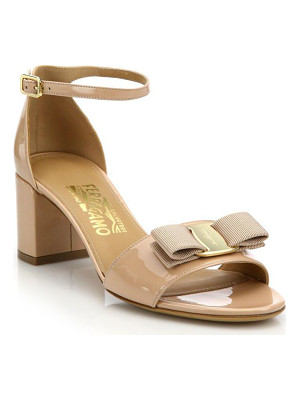 SALVATORE FERRAGAMO Gavina Patent Leather Block Heel Sandals