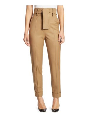 SARA BATTAGLIA Belted High-Waist Wool Trousers