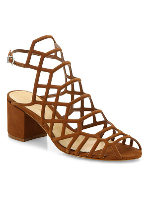 SCHUTZ Bollie Suede Caged Block Heel Sandals
