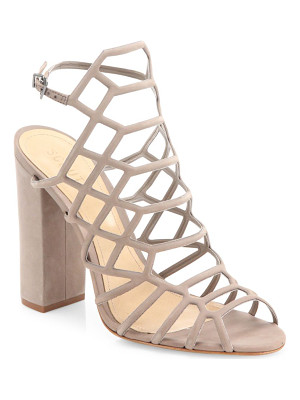 Schutz jaden caged suede block heel sandals