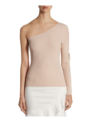 Scripted lace-up one-shoulder sweater