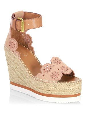 SEE BY CHLOE Laser Cut Suede Wedge Espadrilles