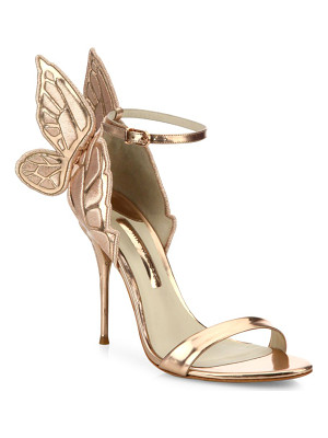 SOPHIA WEBSTER Chiara Mid-Heel Wing Embroidered Metallic Leather Sandals