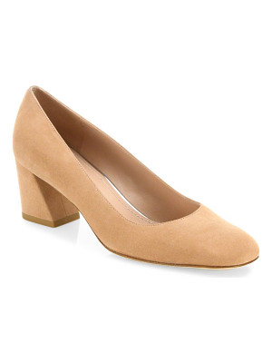 Stuart Weitzman marymid suede block-heel pumps