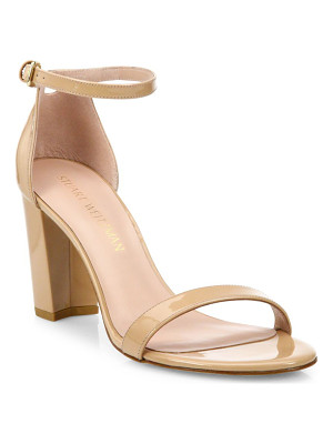 Stuart Weitzman nearlynude block-heel patent leather sandals
