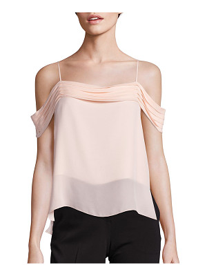 T BY ALEXANDER WANG Silk Georgette Pleated Off-The Shoulder Top
