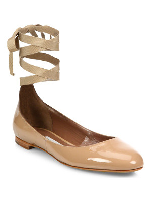TABITHA SIMMONS Daria Patent Leather Ankle-Wrap Ballet Flats