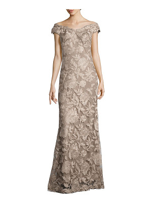 Tadashi Shoji floral embroidered off-the-shoulder gown