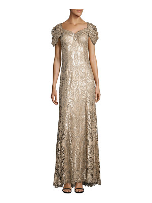 TADASHI SHOJI Sequined Lace Off-The-Shoulder Sweetheart Gown