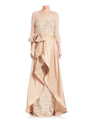 TERI JON Beaded Three-Quarter Sleeve Gown
