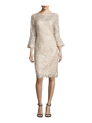 Teri Jon bell-sleeve lace sheath dress