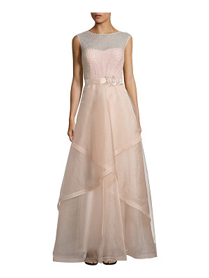 TERI JON Embellished Tulle Ball Gown