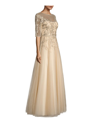 Teri Jon embroidered illusion gown