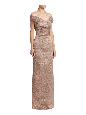 TERI JON Off-The-Shoulder Column Gown