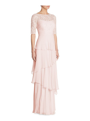 TERI JON Tiered Lace Chiffon Gown