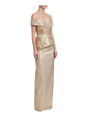 Teri Jon off-the-shoulder metallic jacquard gown