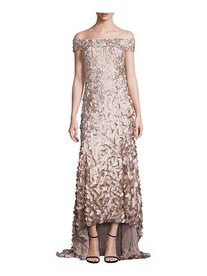 Theia hi-lo petal gown