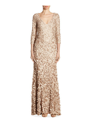 Theia v-neck petal gown