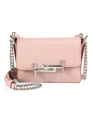 TOD'S Mini Double T Leather & Chain Crossbody Bag