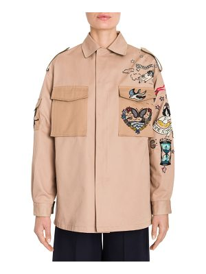 VALENTINO Embroidered Gabardine Chino Jacket