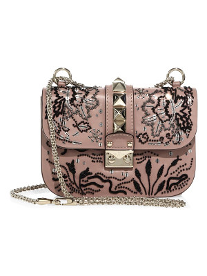 VALENTINO Lock Small Beaded Leather Shoulder Bag