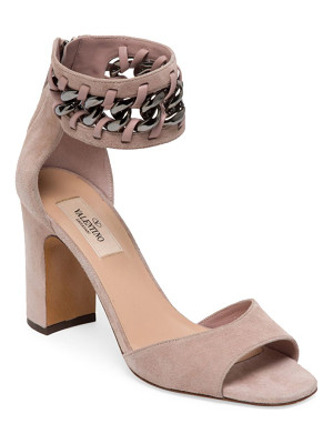VALENTINO Metal-Weave Suede Block Heel Sandals