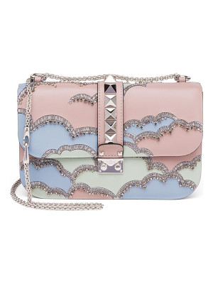 VALENTINO Rocklock Medium Crystal Leather Crossbody Bag