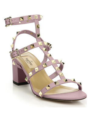 VALENTINO Rockstud Leather Block Heel Sandals