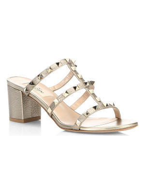 VALENTINO Rockstud Metallic Leather Block Heel Mules