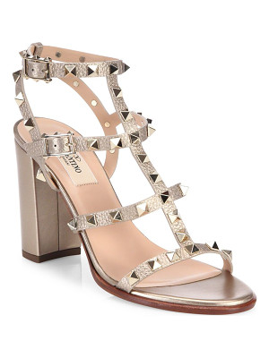 VALENTINO Rockstud Metallic Leather Block Heel Sandals