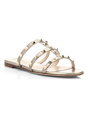 VALENTINO Rockstud Metallic Leather Slides