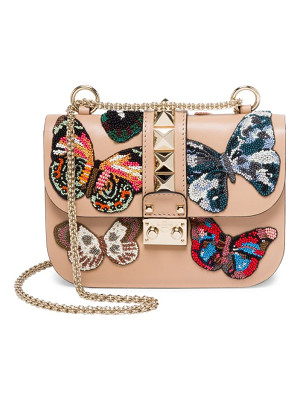 VALENTINO Small Lock Beaded Butterfly Leather Shoulder Bag