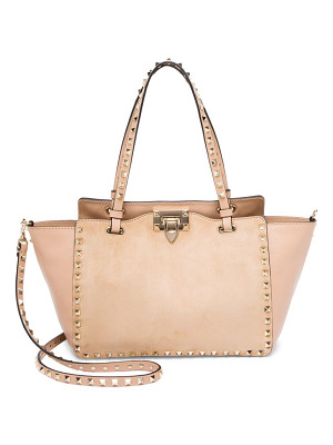 VALENTINO Small Rockstud Leather & Suede Tote