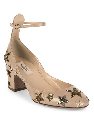 Valentino star-studded leather ankle-strap block-heel pumps
