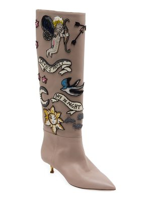 VALENTINO Twisteel Tall Beaded Leather Boots