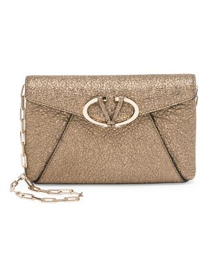 VALENTINO V Rivet Metallic Leather Chain Clutch