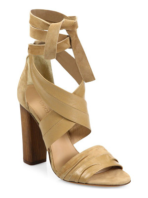 VINCE Beatrice Leather & Suede Wraparound Block-Heel Sandals