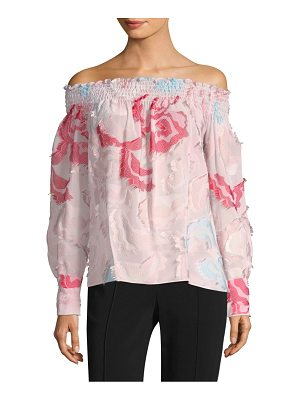 Yigal Azrouel smocked off-the-shoulder floral blouse